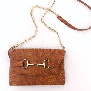 Banana Republic cognac and gold crossbody purse